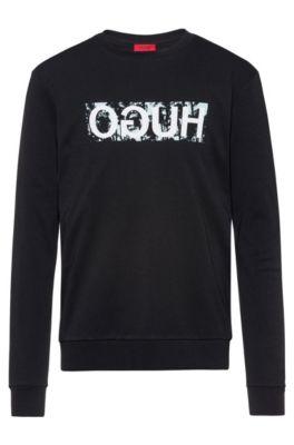 Sweater van dubbelgebreide katoen met gespiegeld logo, Zwart