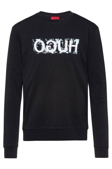 Reverse-logo sweatshirt in cotton interlock, Black