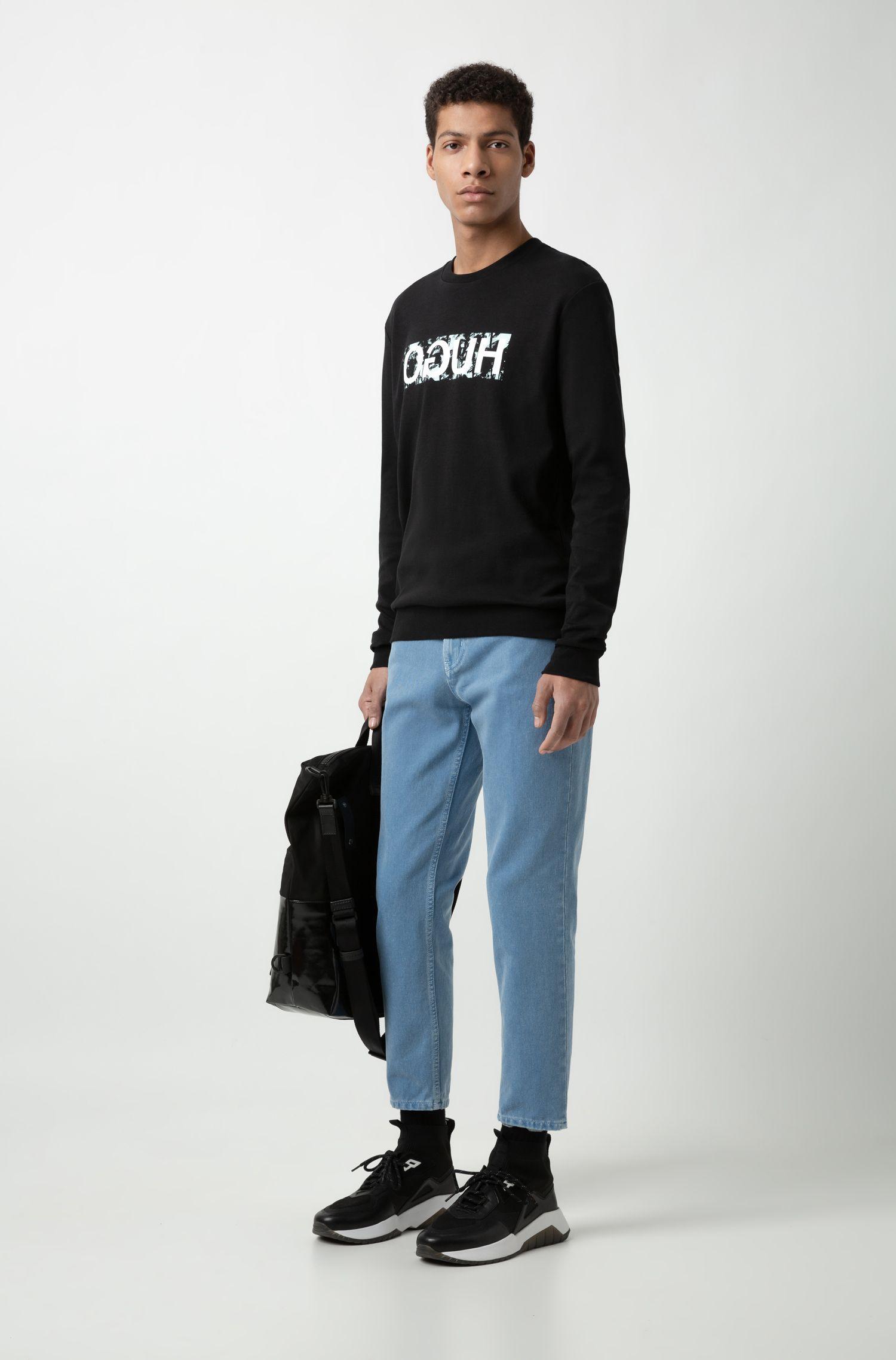 Sweatshirt aus Interlock-Baumwolle mit Reversed-Logo, Schwarz