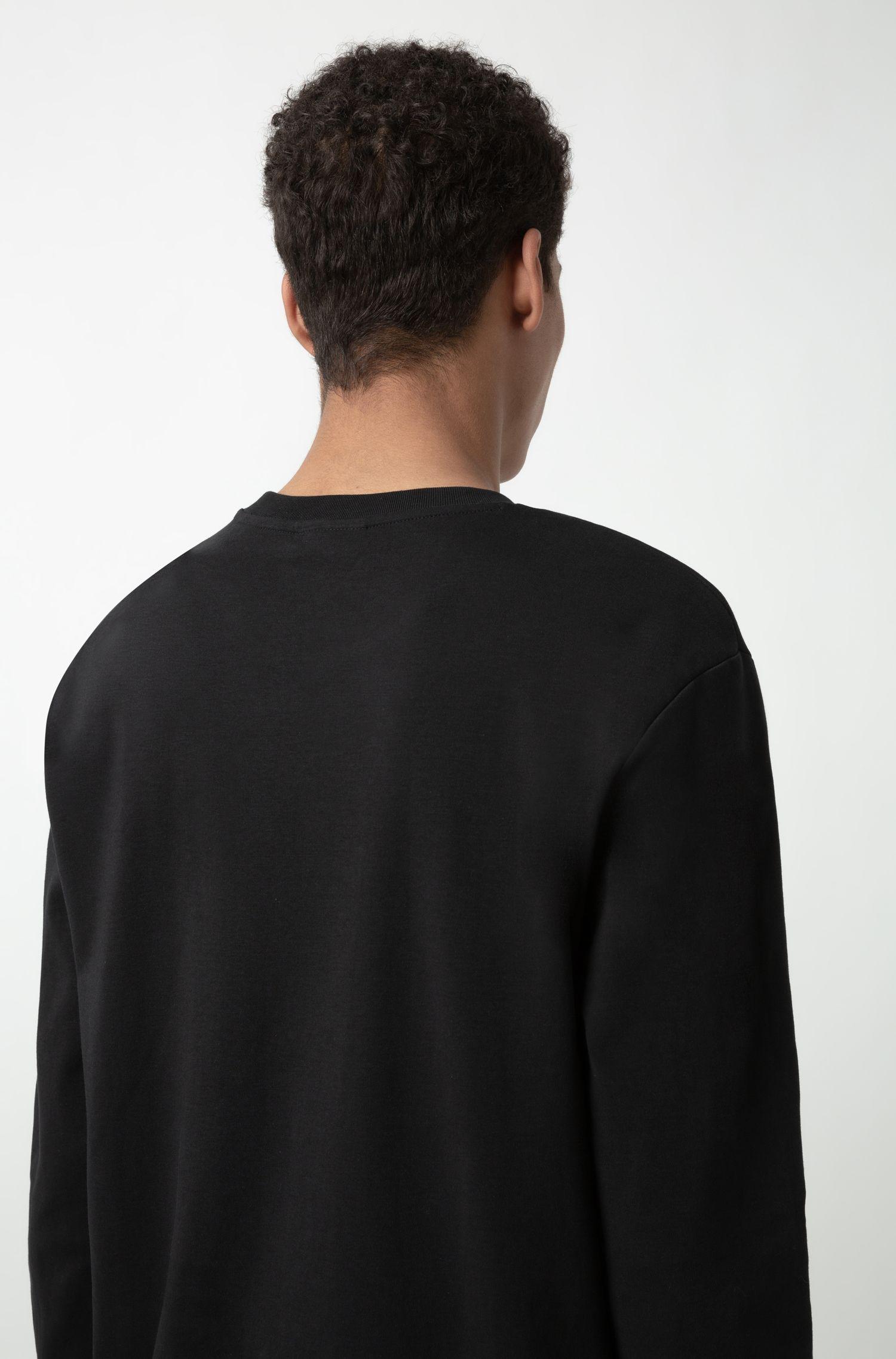 Sudadera con logo invertido en algodón interlock, Negro