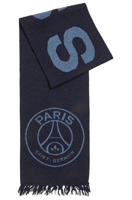 Écharpe en édition limitée, avec logos Paris Saint-Germain et BOSS, Bleu