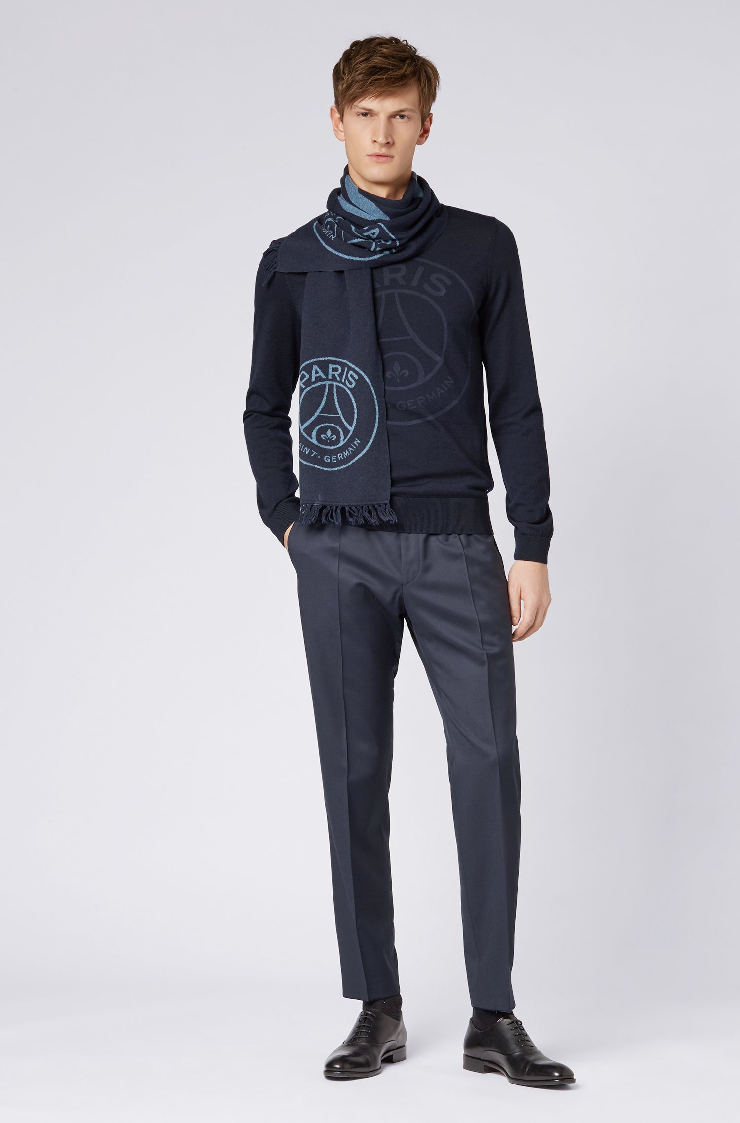 Limited-edition scarf with Paris Saint-Germain and BOSS logos, Blue