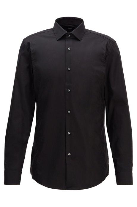 Slim-Fit Hemd aus bügelleichter Baumwolle, Schwarz
