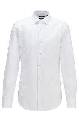 Camicia slim fit in cotone austriaco facile da stirare, Bianco