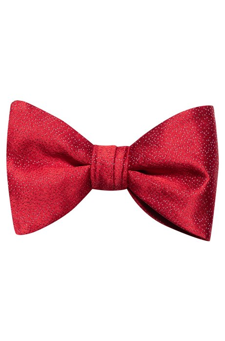 Silk-jacquard bow tie with star motif, Patterned