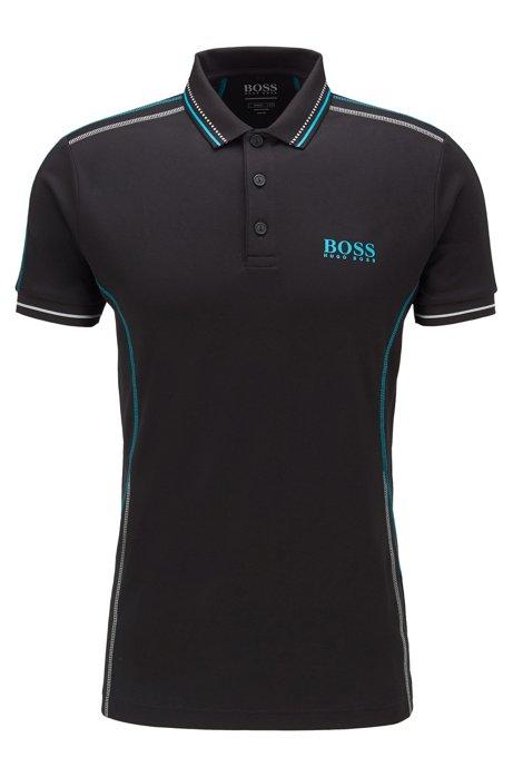 Polo Slim Fit avec surpiqûres contrastantes, Noir