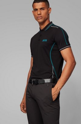 Slim-fit polo shirt with contrast stitching, Black