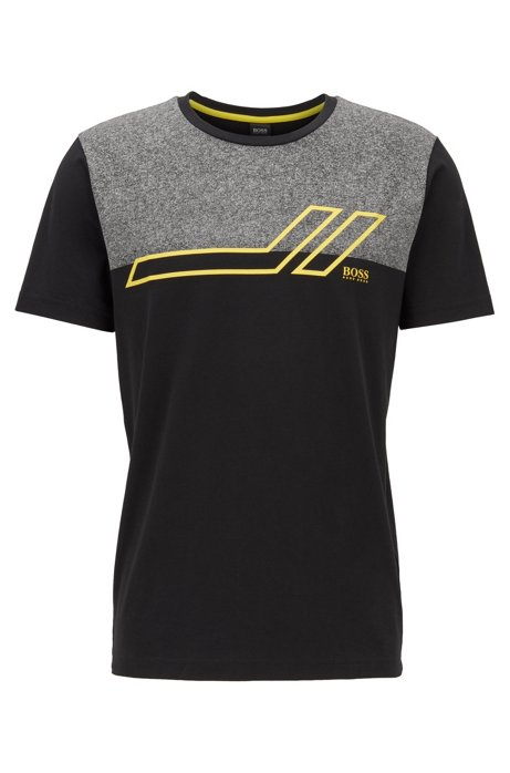 Regular-fit T-shirt with colour block in stretch cotton, Black