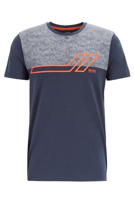 T-shirt Regular Fit color block en coton stretch, Bleu foncé