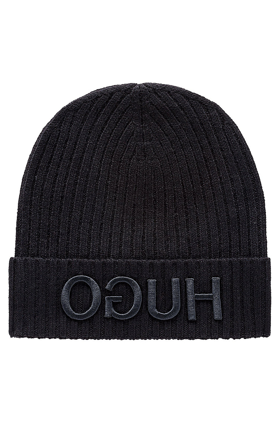 db2da65d7 HUGO - Wool beanie hat with 3D reverse-logo embroidery