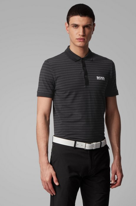 Slim-fit polo shirt with engineered stripe, Black