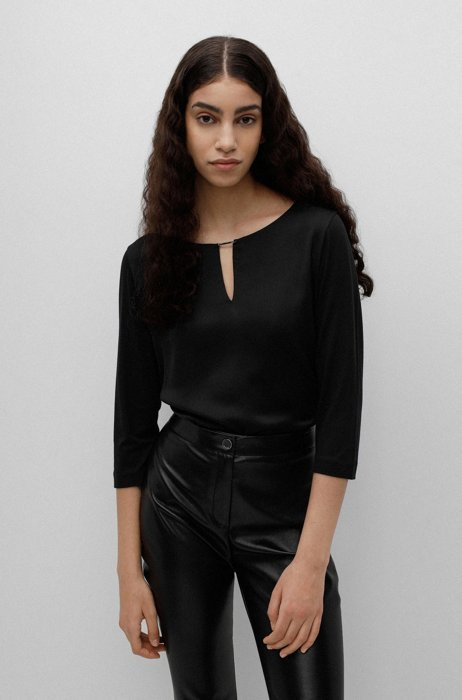 Mixed-fabric top with hardware-trimmed notch neckline, Black