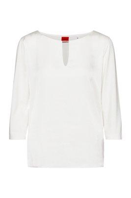 Top en tissu mélangé avec encolure fendue et garniture métallique, Blanc