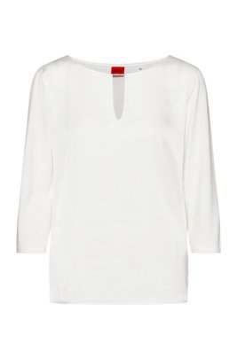 Mixed-fabric top with hardware-trimmed notch neckline, White