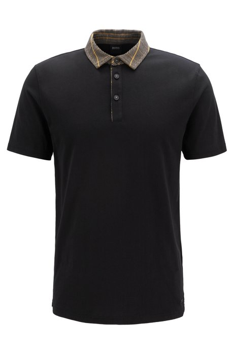 Relaxed-fit polo shirt with houndstooth trims, Black