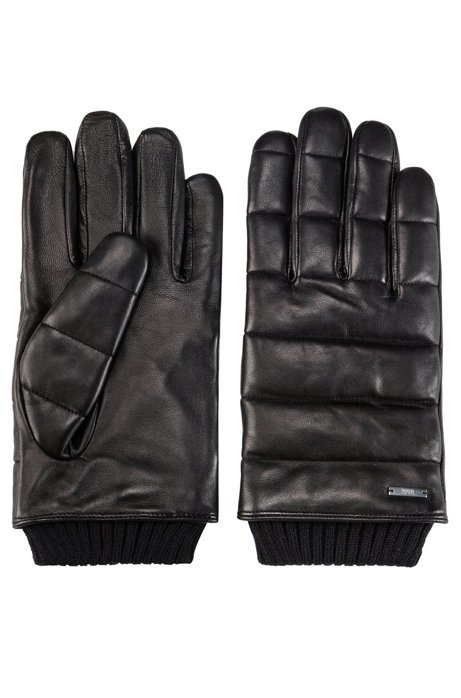 Nappa-leather gloves with 3D stitching and teddy lining, Black
