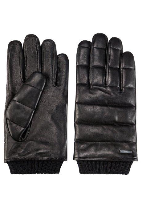 Gants en cuir nappa avec surpiqûres en 3D et doublure en peluche, Noir