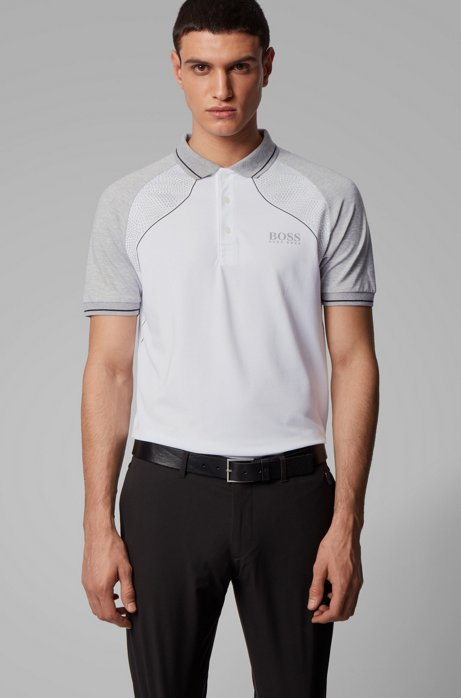Regular-fit polo shirt in cotton blend with S.Café®, White
