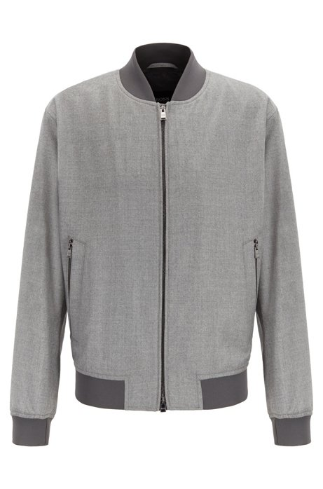 Blouson-style bomber jacket in virgin-wool flannel, Grey