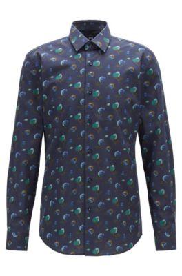 Slim-fit shirt in floral-print Italian cotton poplin, Dark Blue