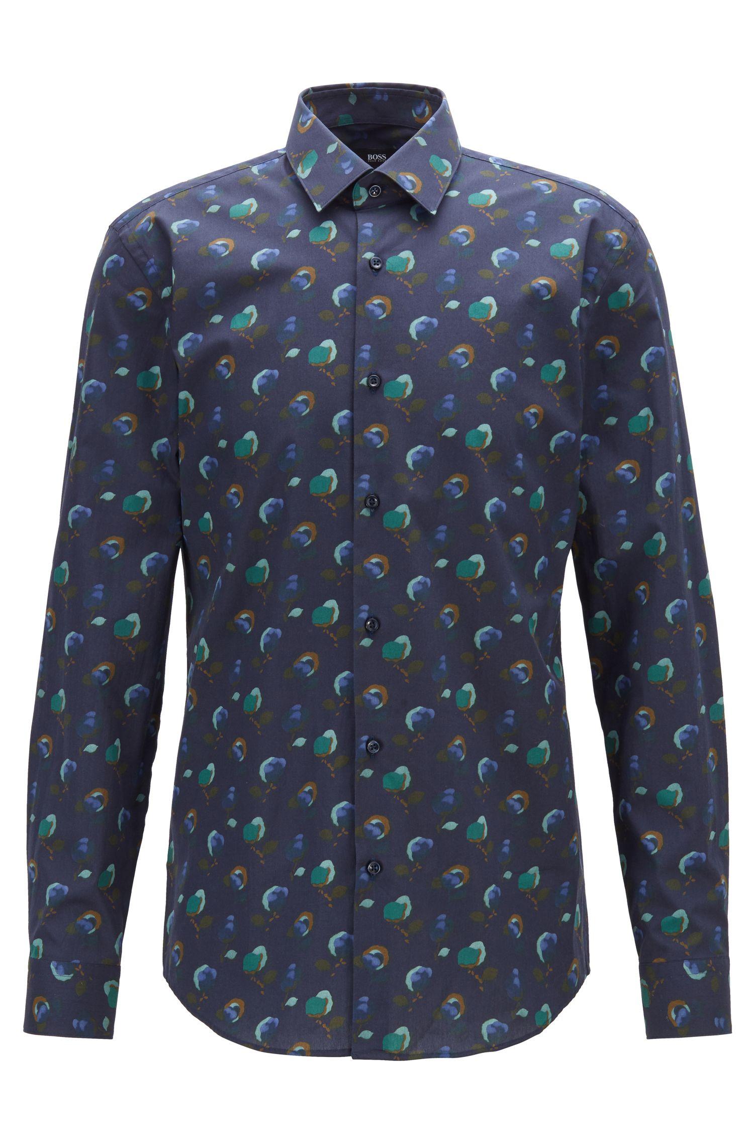 Slim-fit overhemd in een popeline van Italiaanse katoen met bloemenprint, Donkerblauw