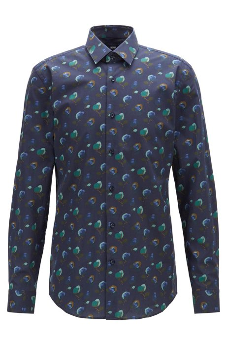 Slim-fit shirt in floral-print Italian cotton poplin, Dark Blue