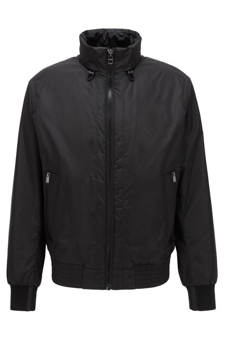 Blouson jacket in water-repellent fabric with packable hood, Black