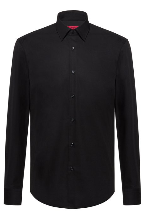 Regular-fit shirt in cotton poplin, Black