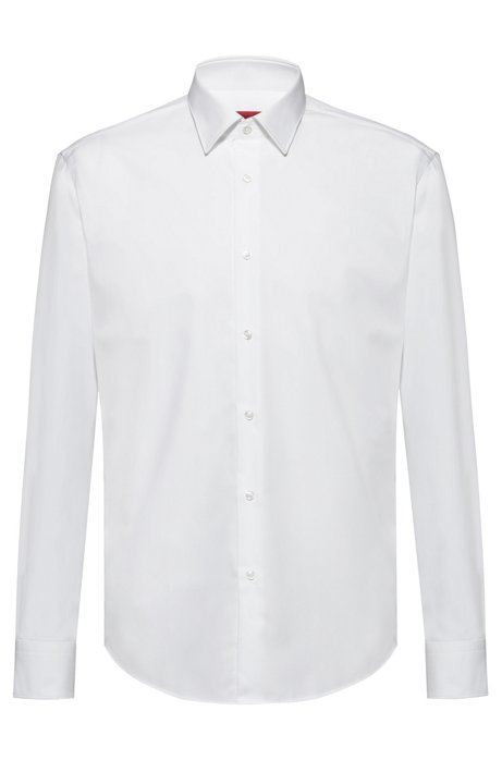 Regular-fit shirt in cotton poplin, White