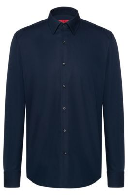 Regular-fit shirt in cotton poplin, Dark Blue