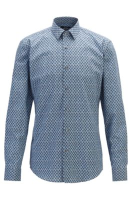 Slim-fit shirt in Italian cotton with floral motif, Open Green