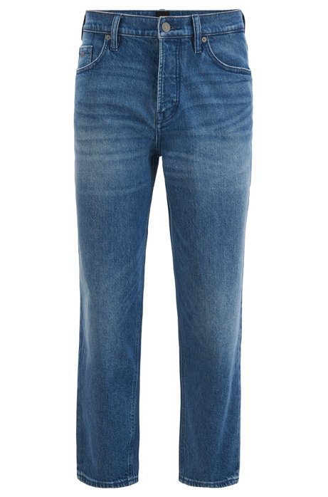 Tapered-fit cropped jeans in light-blue stretch denim, Blue