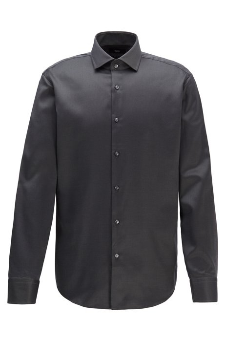 Regular-fit shirt in diagonal-striped cotton twill, Dark Grey