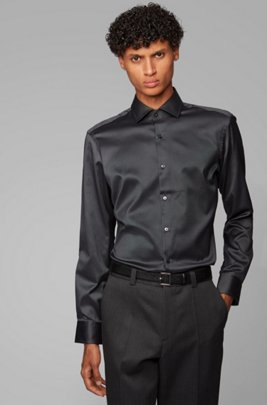 Regular-fit shirt in cotton twill, Dark Grey