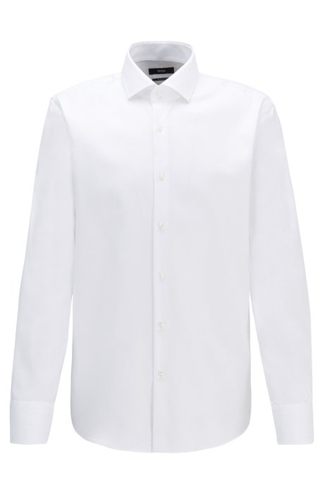 Regular-fit shirt in diagonal-striped cotton twill, White