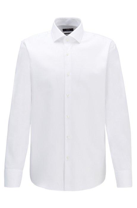Chemise Regular Fit en twill de coton à rayures en diagonale, Blanc