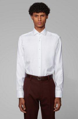 Regular-Fit Hemd aus Baumwoll-Twill, Weiß