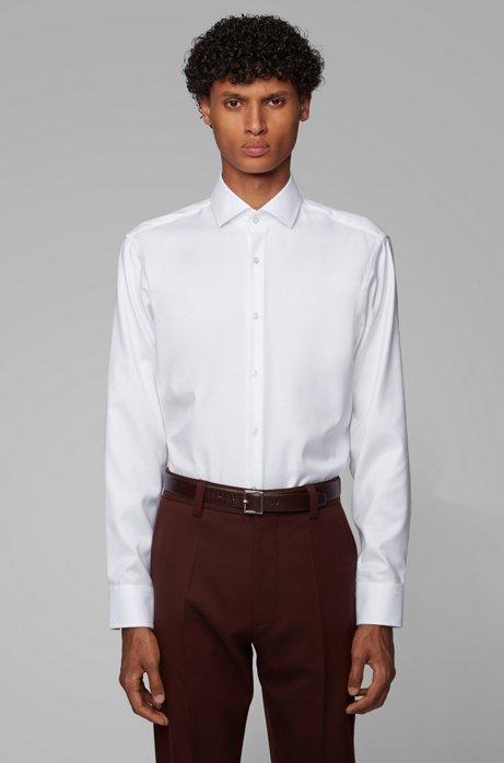 Regular-fit overhemd in een katoenen twill met diagonaal streepdessin, Wit