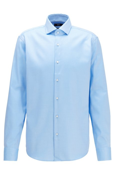 Regular-fit shirt in diagonal-striped cotton twill, Light Blue