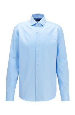 Chemise Regular Fit en twill de coton à rayures en diagonale, Bleu vif