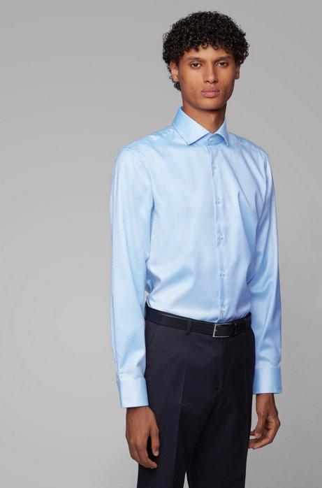 Regular-Fit Hemd aus Baumwoll-Twill mit diagonalen Streifen, Hellblau