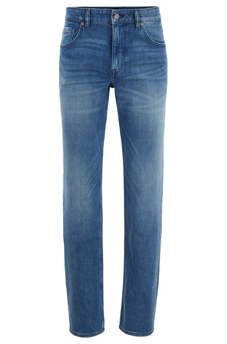Jean Relaxed Fit en denim bleu clair stretch confortable, Bleu