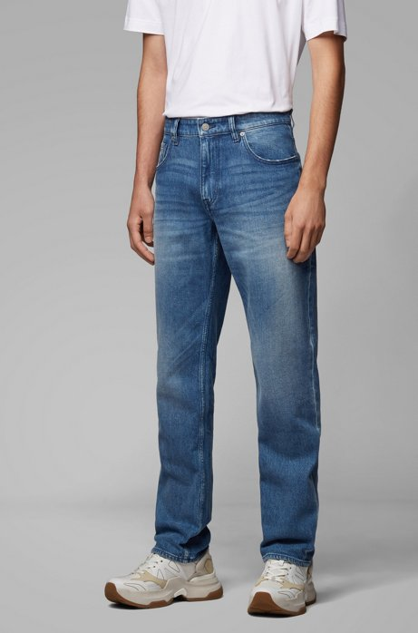 Relaxed-fit jeans in light-blue comfort-stretch denim, Blue