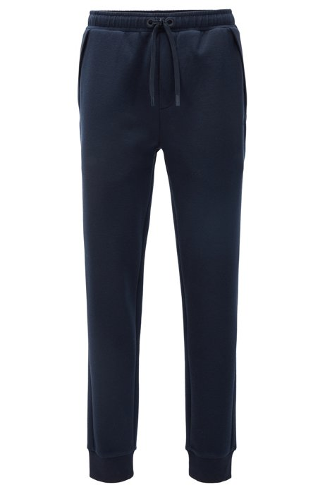 Cuffed jogging trousers in mixed fabrics, Dark Blue