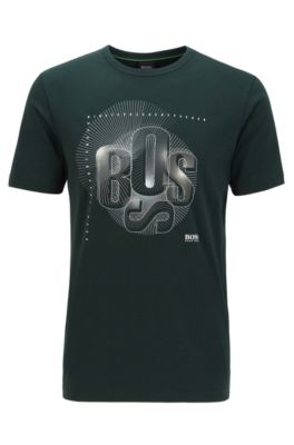 T-shirt Regular Fit à logo artistique déstructuré, Vert