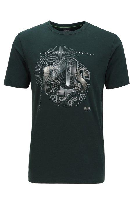 Regular-fit T-shirt met gedeconstrueerd, kunstzinnig logo, Groen