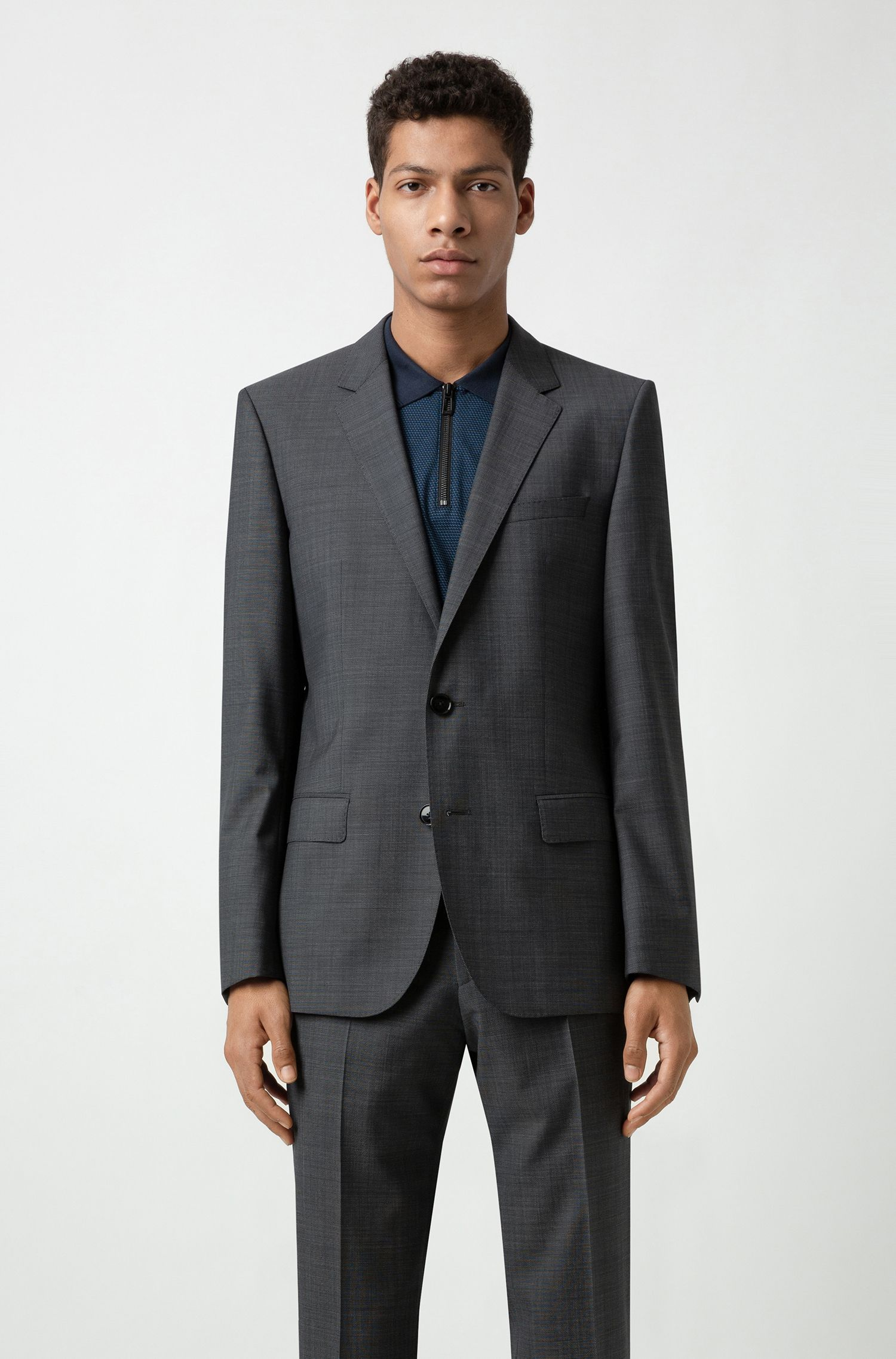 Slim-fit suit in a virgin-wool blend, Anthracite