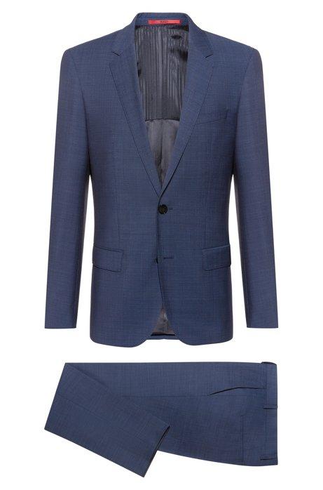 Costume Slim Fit en laine vierge mélangée, Bleu