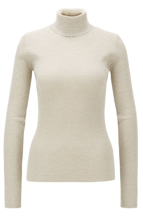 Slim-fit rollneck sweater with metallic yarns, Natural