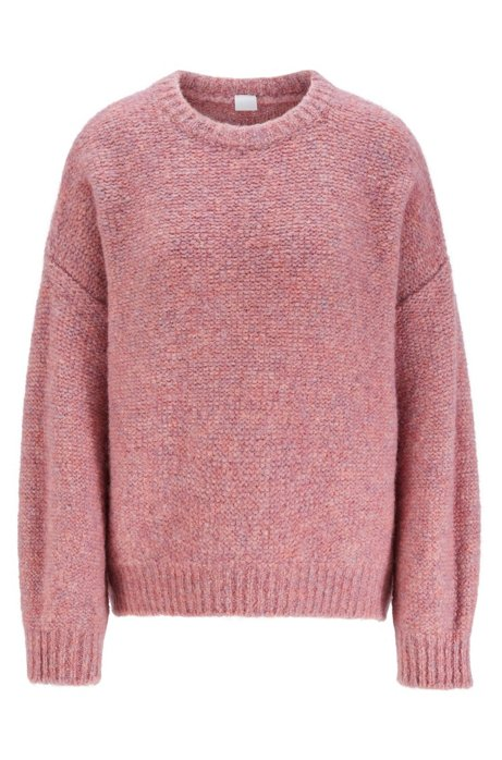 Oversized-fit sweater with dropped shoulders, light pink
